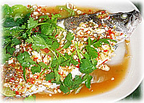 Thai Recipes : Steamed Fish with lime, garlic and chili sauce