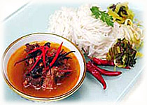 Thai Food Recipe | Noodle in Fish and Anchovy Curry Paste